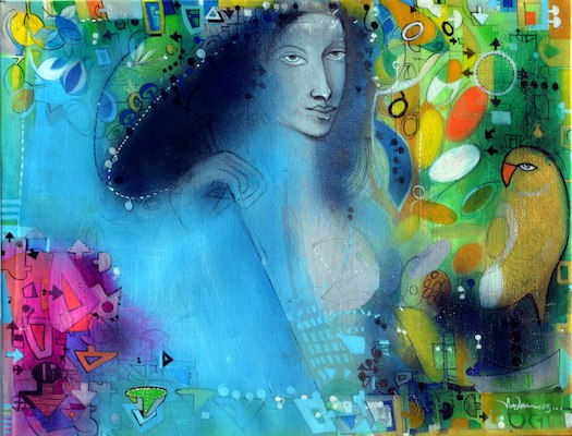 6ed770b4 Artflute.com | Acrylic Painting by Madan Lal | Monsoon - I